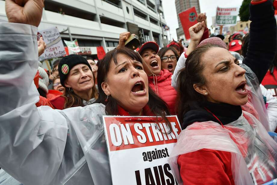 Striking teachers and their supporters rally in downtown Los Angeles, California on the second day of the teachers strike, on January 15, 2019. - Teachers of the Los Angeles Unified School District (LAUSD), the second largest public school district in the United States, are striking for smaller class size, better school funding and higher teacher pay.  Photo: Robyn Beck / AFP / Getty Images
