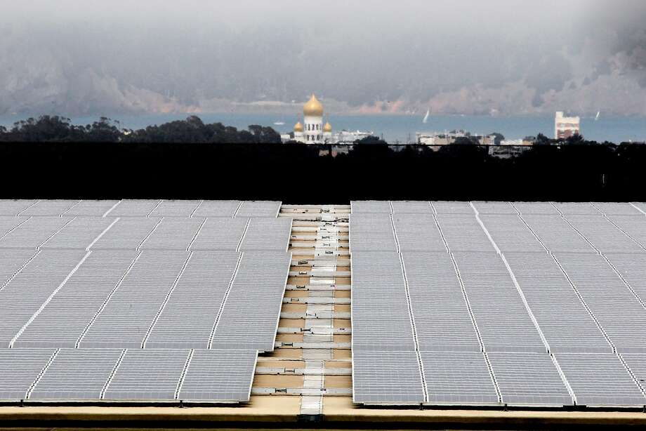 The roof of the Sunset Reservoir in S.F. is covered with solar panels. Mayor London Breed wants the city to study the possibility of taking over some or all of the local operations and infra- structure of PG&E, which is planning to file for bankruptcy. Photo: Michael Macor / The Chronicle 2012