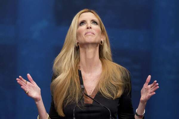 Ann Coulter, here speaking at the Conservative Political Action Conference (CPAC) in Washington in 2012, is really who, among others in the right-wing echo chamber, Trump fears - why he is being steadfast on his wall.