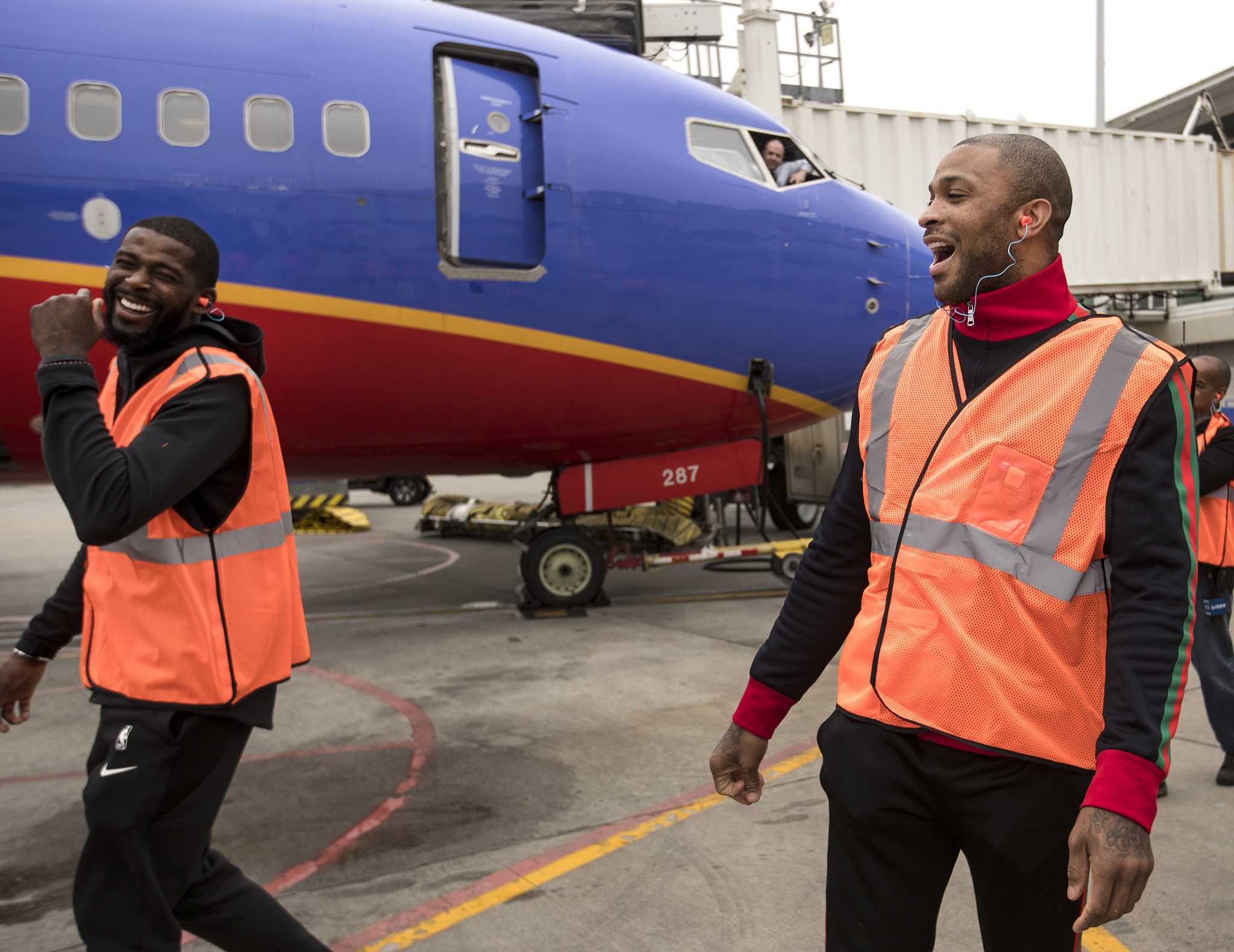 Trio of Rockets stars puts in work at Hobby Airport