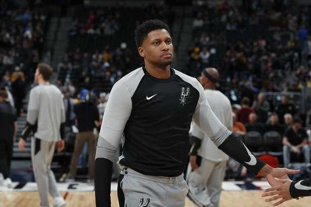 San Antonio Spurs forward Rudy Gay (22) in the first half of an NBA basketball gsm Friday, Dec. 28, 2018, in Denver. (AP Photo/David Zalubowski)