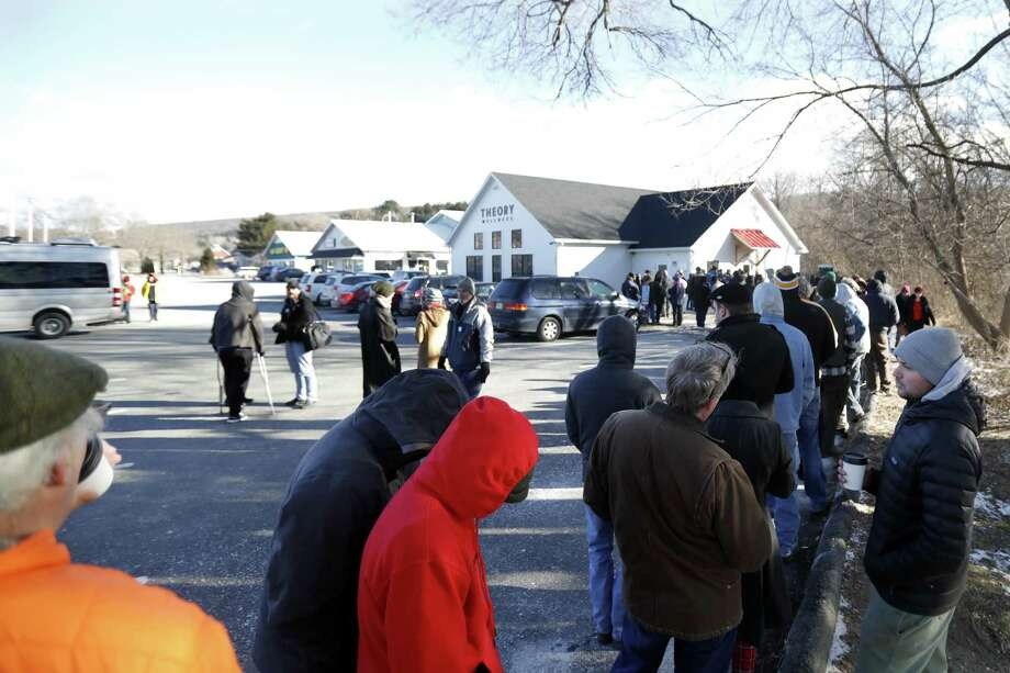 Theory Wellness in Great Barrington, Mass., opened less than a week ago to crowds in the hundreds. The facility is just 35 miles from Torrington. Photo: Stephanie Zollshan / Associated Press / The Berkshire Eagle