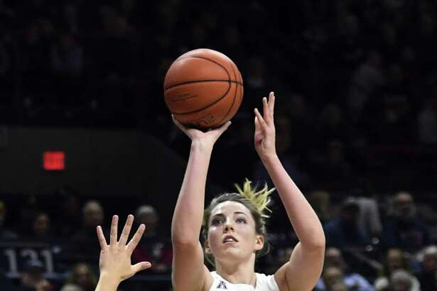 UConn's Katie Lou Samuelson shoots a 3 in the first half game against USF on Sunday in Storrs.