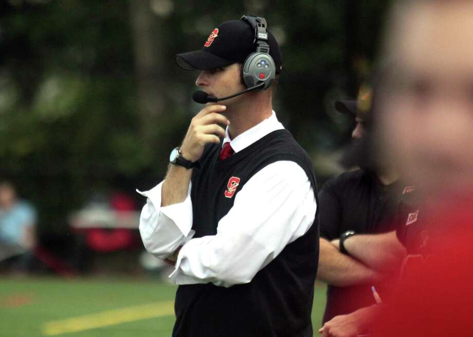 Stratford Head Coach T.J. Cavaliere during football action against Masuk in Stratford, Conn. on Friday Sept. 9, 2016. Photo: Christian Abraham / Hearst Connecticut Media / Connecticut Post