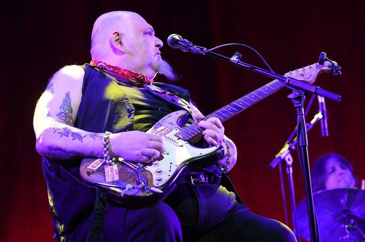 """Singer, songwriter and guitarist Popa Chubby jams on his guitar during his Jan. 12 show at the Katharine Hepburn Cultural Arts Center in Old Saybrook. Born Ted Horowitz, Popa Chubby became a hardcore blues rocker in the early 90s and continues to keep the flame burning brightly as he travels around the world, entertaining his fans with his Fender Stratocaster guitar. Popa Chubby is currently touring the United States in support of his latest release, """"Two Dogs"""". To hear is music and to learn more about this extraordinary guitarist, visit www.popachubby.com"""