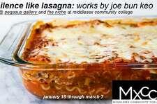 "?""silence like lasagna,?"" by Joe Bun Keo, whose work is on display at Middlesex Community College's Pegasus Gallery."