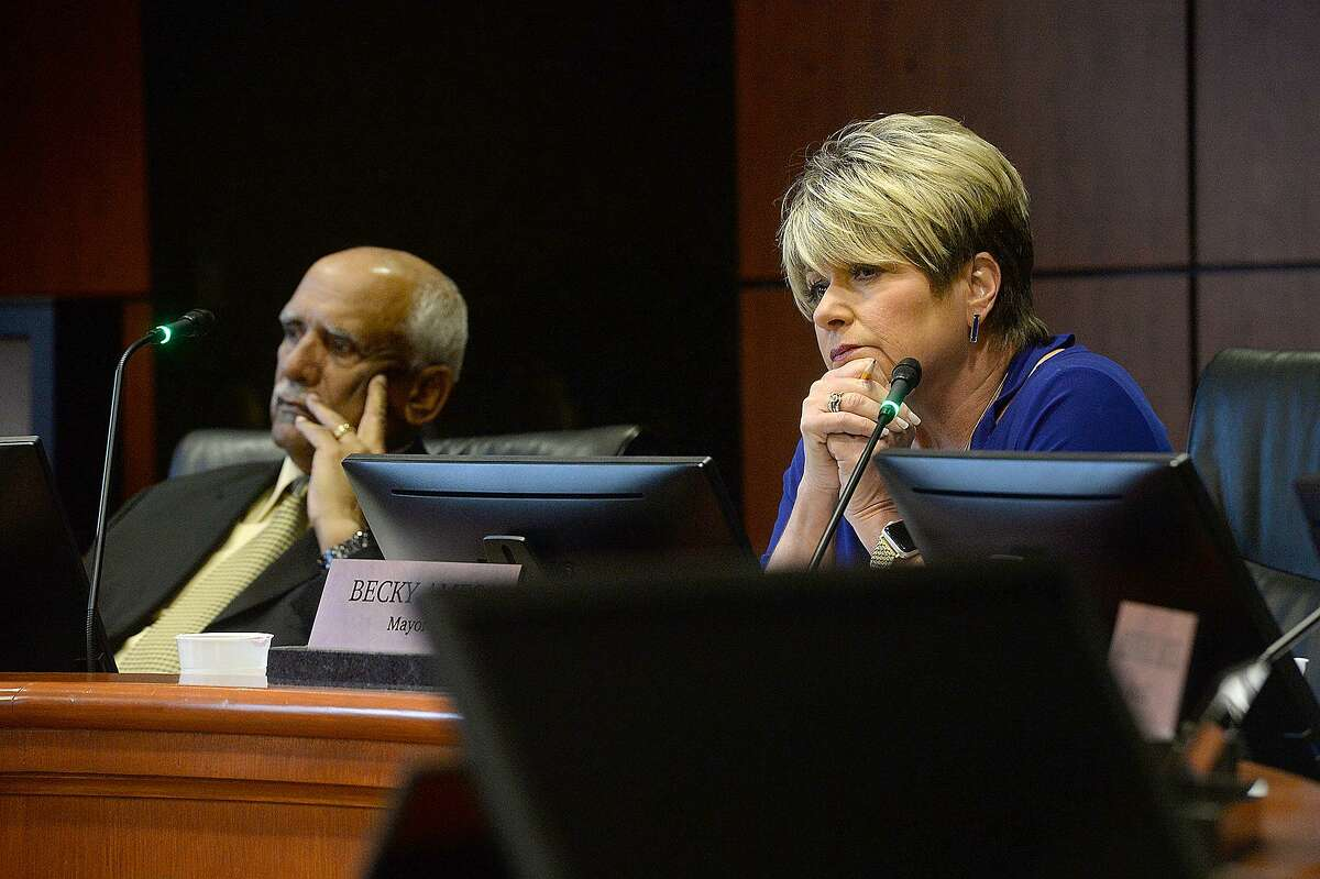 Bill Sam and Mayor Becky Ames listen during Beaumont City Council's public comment portion regarding the city's proposal to purchase the vacant AT&T Building on Main Street. The city's plan includes demolition of the structure with the hope of making it available for redevelopment. Photo taken Tuesday, January 15, 2019 Photo by Kim Brent/The Enterprise